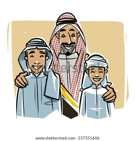 Arabic sheikh with sons - stock vector