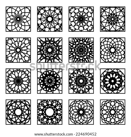 Arabic square ornament set. Vector patterns collection - stock vector