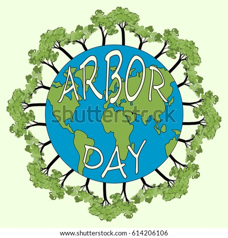 Arbor Day vector illustration. Save our planet concept with earth.