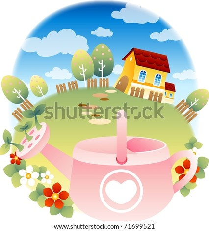 Beautiful Home Garden Stock Vectors, Images & Vector Art ...