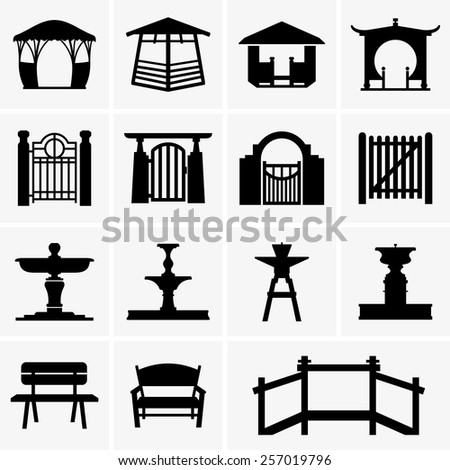 Arbors, gates, fountains, benches - stock vector