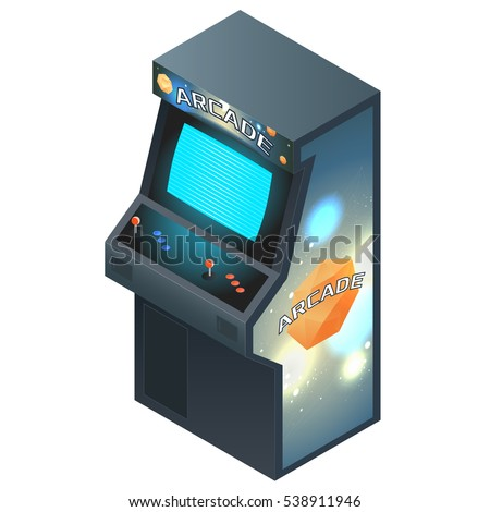 Arcade Game Cabinet with Glowing Screen. Isometric Vector Illustration