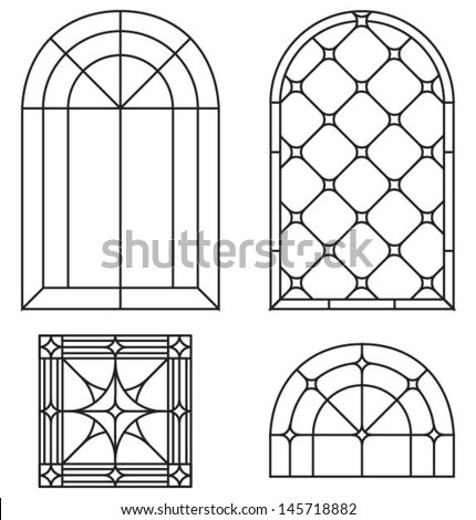 Stained glass cross stock images royalty free images for Window design template