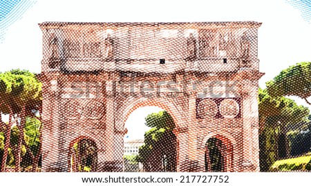 Arch of Constantine, Rome, Italy. Vintage travel postcard. - stock vector