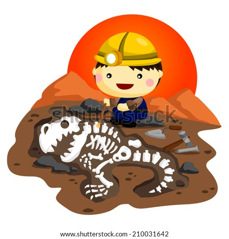 archaeologist - stock vector