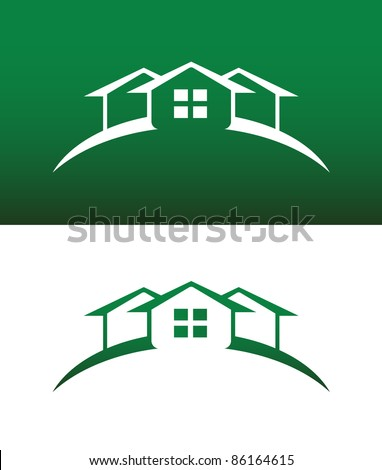 Arched Green House Icon with Window Vector Both Solid and Reversed. - stock vector