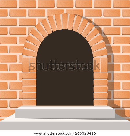 Arched medieval door in a brick wall with stairs - stock vector