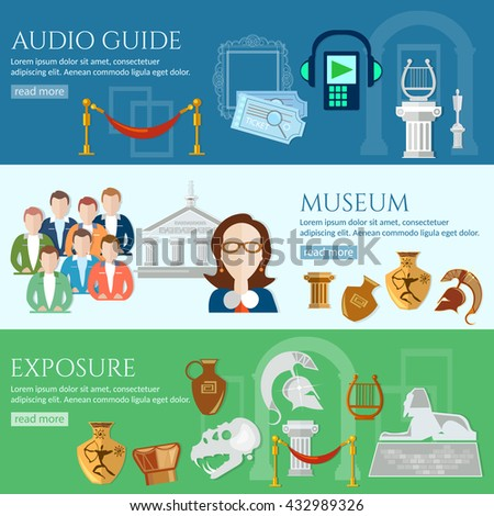 Archeological museum banner tour guide museum group of tourists gallery history and culture of civilization vector - stock vector