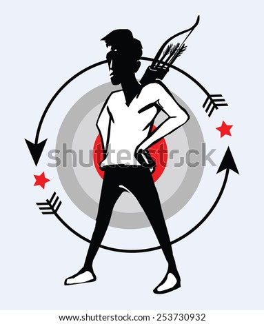 archer emblem, bow and arrows. Sign for sport club.  - stock vector