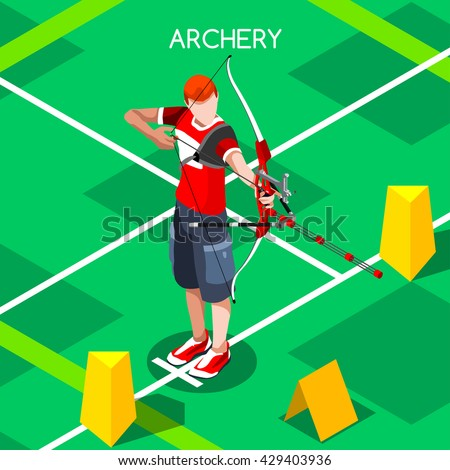 Archery Player aiming with bow Sportsman Games Icon logo Set. 3D Isometric male Archery Player Archer. Sporting People Archery Competition. Individual Sport Infographic olympics Archer Vector