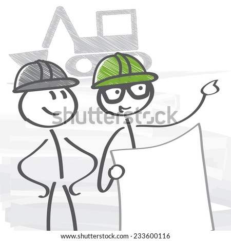 Architect and craftsman consult on the site - stock vector