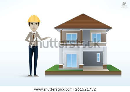 Architect create and developing architectural design and construction management with image of 3D building model. Vector illustration eps10 format. - stock vector