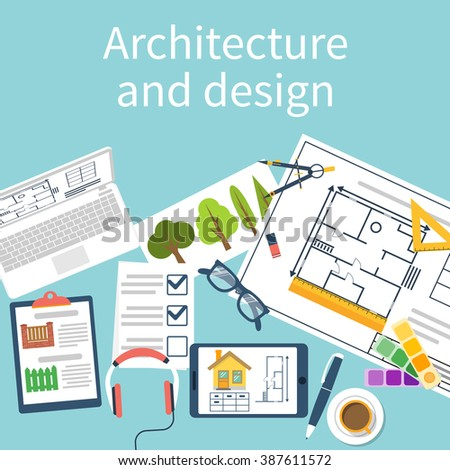 Architect designer working desk with equipment. Architectural project, technical project, architectural plan. Vector, flat design. Planning construction. Top view of a designer table. - stock vector