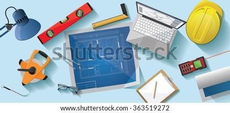 Architect desk flat illustration - stock vector