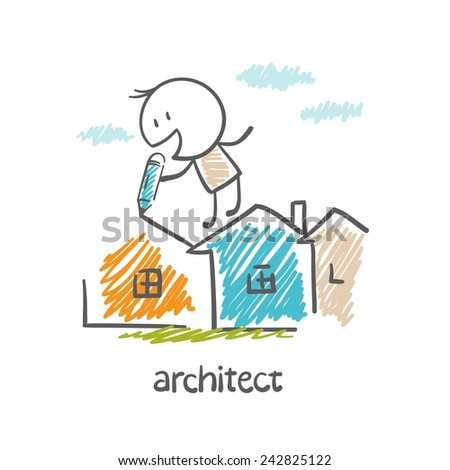 architect draws a pencil houses illustration - stock vector