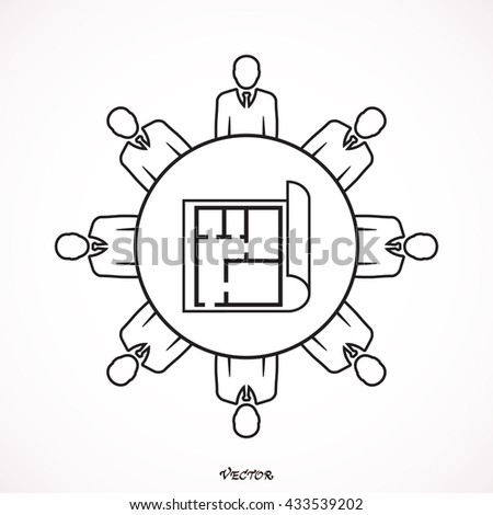 Architect Engineer Meeting Strategy Planning Office Concept - stock vector