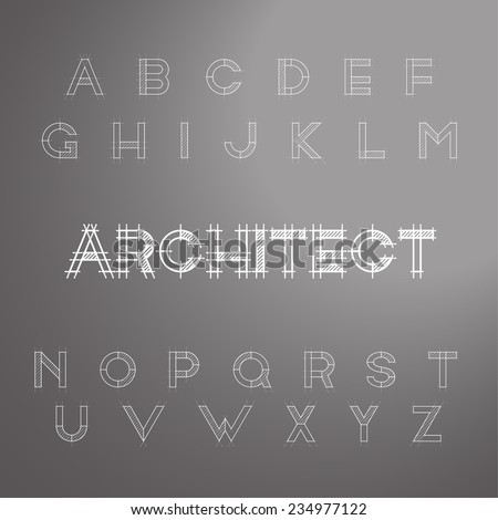 architect font type. vector illustration - stock vector