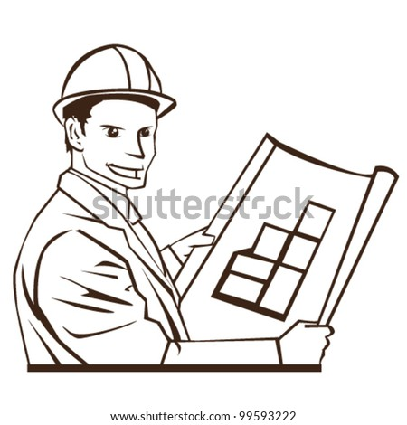 Architect holding blueprints line art vector - stock vector