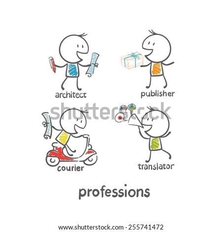 architect profession, messenger, publisher, translator illustration - stock vector