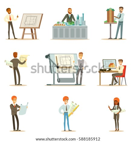 Architect Profession Series Of Vector Illustrations With Architects Designing Projects And Blueprints For Building Construction