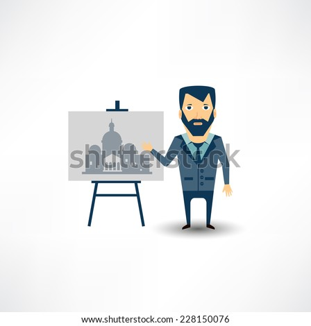 architect restoring old buildings - stock vector