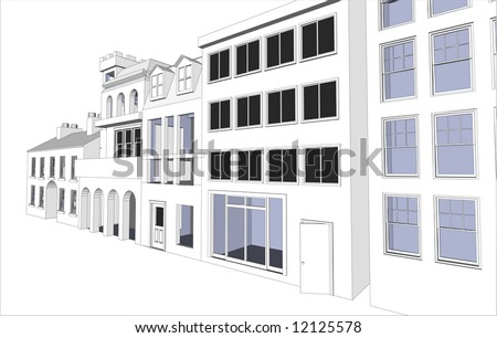 Architect's Eco friendly buildings featuring various dwellings and offices in vector format. Every feature of each building including doors and windows can be edited or colored to suit. - stock vector