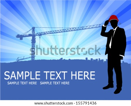 architect standing in front of abstract construction site background - stock vector