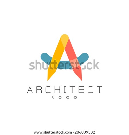 Architect theme colorful overlay letter a logo. Transparency are flattened. - stock vector