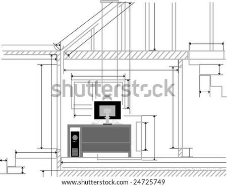 Architect with the drawings in the background - stock vector
