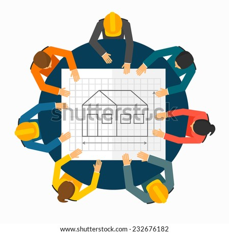 Architects and Engineers planning on a new real estate project around the table, vector illustration  - stock vector