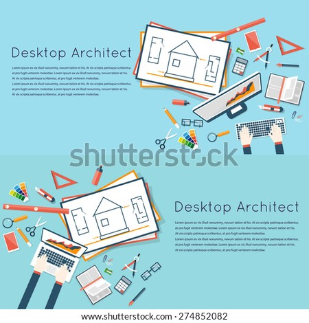 Architects workplace. Architecture planning on laptop top view. Architectural project, architectural plan, technical project. Engineering for building houses. 2 banners. Flat design - stock vector