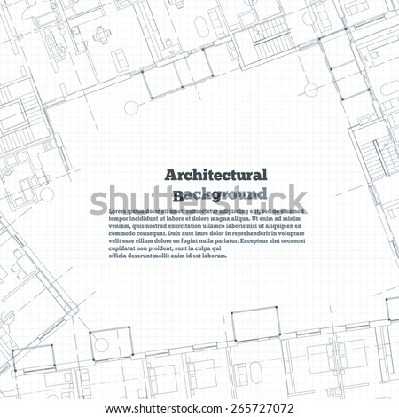 Architectural background. Gray building plan silhouette on white background. Vector illustration.  - stock vector