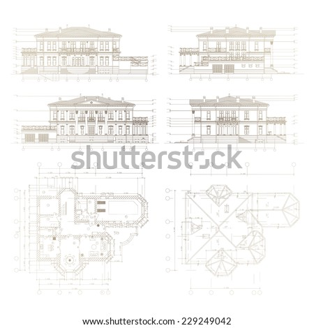 Architectural background. Part of architectural project, architectural plan, technical project, architecture planning on paper, construction plan - stock vector