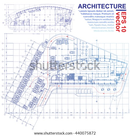 Architectural background. Part of architectural project, architectural plan, technical project, construction plan. Vector illustration - stock vector