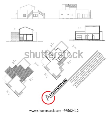 Architectural background.Part of architectural project, architectural plan, technical project, drawing technical letters, architect at work. Vector clip-art. Isolated on white. - stock vector