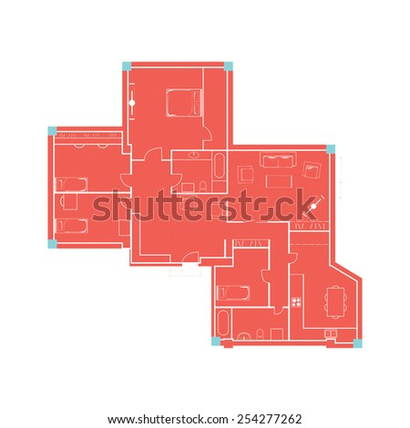 Architectural background. Vector drawing of building plan with furniture in retro red and blue  - stock vector