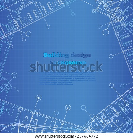 Architectural background. White-blue building plan silhouette on blue background. Vector illustration. - stock vector