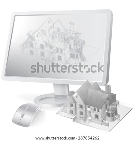 Architectural background with a 3D building model and monitor. Vector illustration - stock vector