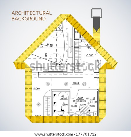 Architectural background with a measuring tape - stock vector