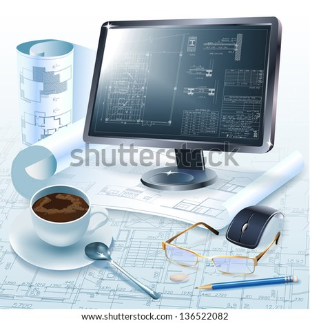 Architectural background with drawing tools and a monitor for your business site - stock vector