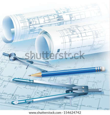 Architectural background with rolls of drawings and drawing tools for your business site. Vector illustration - stock vector