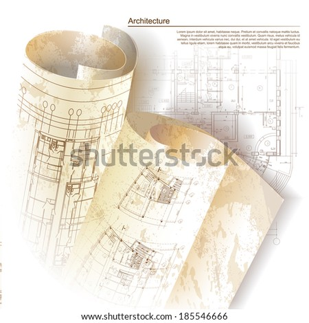 Architectural background with rolls of drawings. Part of architectural project, architectural plan, technical project, drawing technical letters, design on paper, construction plan
