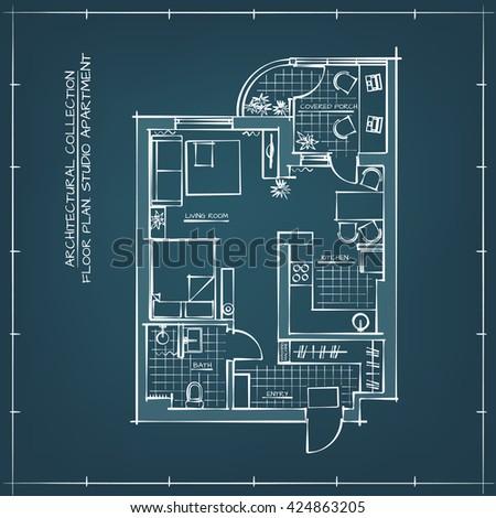 Architectural blueprint floor plan studio apartment vectores en architectural blueprint floor plan studio apartment technical hand drawn illustration malvernweather Choice Image