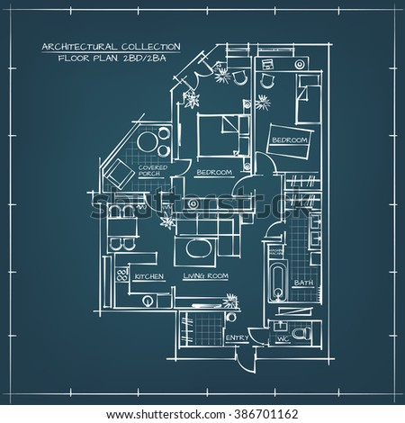 Architectural Blueprint Floor Plan.Two Bedrooms Apartment - stock vector