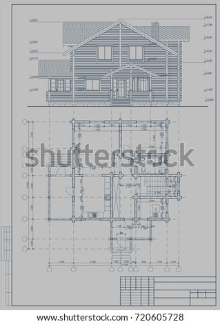 Architectural blueprint wooden building glued beams stock vector architectural blueprint of a wooden building from glued beams roof 3d the plan malvernweather Image collections