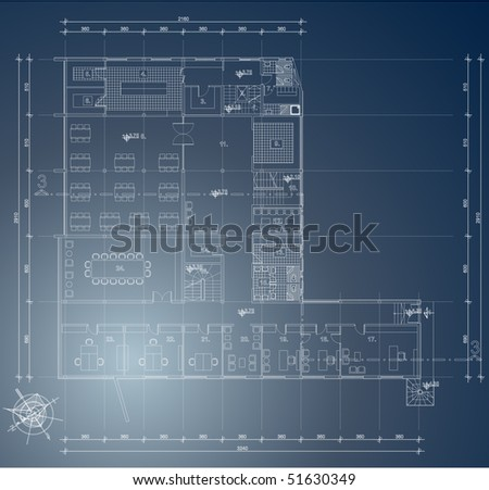 Architectural blueprint of industry building - stock vector