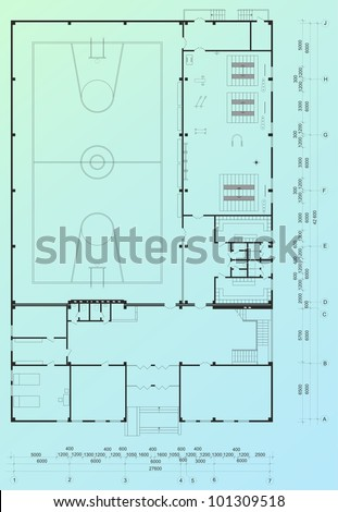 Architectural blueprint of sport building