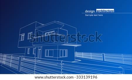 Architecture house blueprint vectores en stock 247985518 shutterstock architectural blueprint of the residence house as modern architectural design malvernweather Choice Image