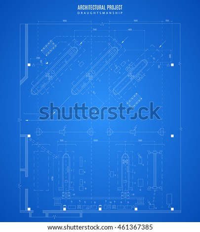 Architectural blueprint technical drawing construction plan stock architectural blueprint technical drawing construction plan or project on the blue background stock malvernweather Choice Image