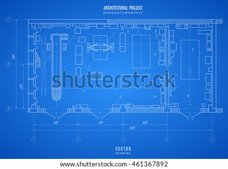 Architectural Blueprint, Technical Drawing, Construction Plan Or Project On  The Blue Background. Stock